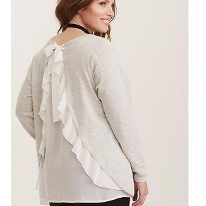 New with tags torrid  chiffon ruffle back sweater